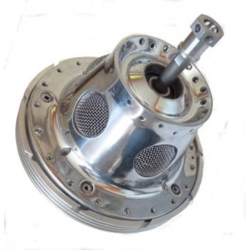 Polished Rear Conical Hub - Manx Style with Polished Brake Plate and Stainless Steel Spindle