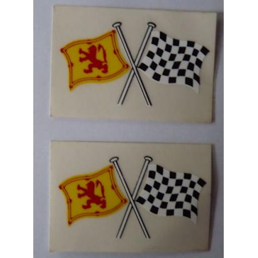 Crossed Scottish Flag and Chequered Flag Sticker/Decal