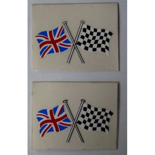 Crossed Flags Sticker/Decal with Union Flag and Chequered Flag - ideal for helmets