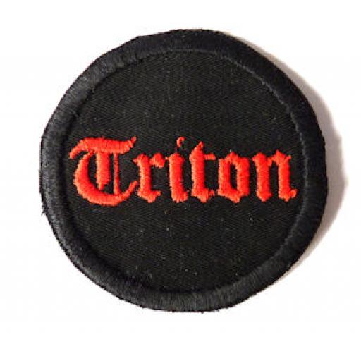 Round Triton Cloth Patch - Red Stitching on Black Background