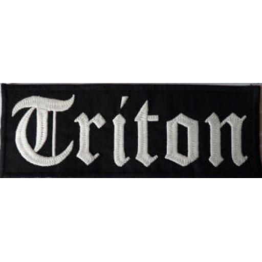 Large Triton Patch Black Background with White Lettering