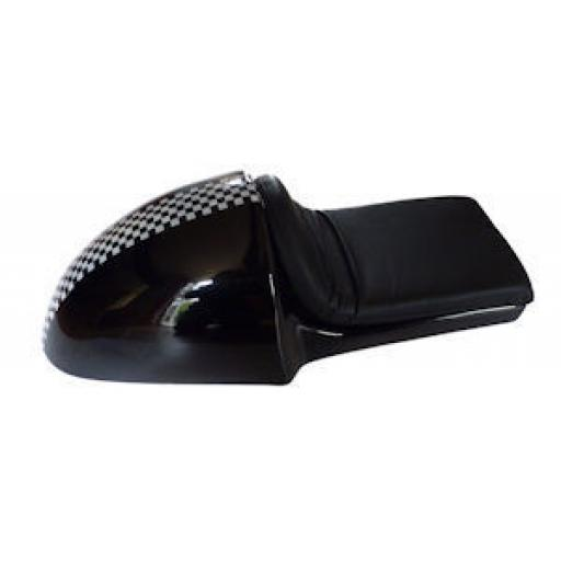 Black Fibreglass Cafe Racer Seat with Black Seat Pad and Chequer Pattern