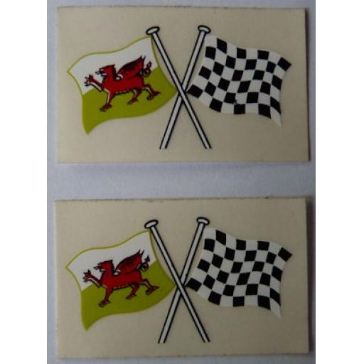 Crossed Welsh Flag and Chequered Flag Sticker/Badge/Decal
