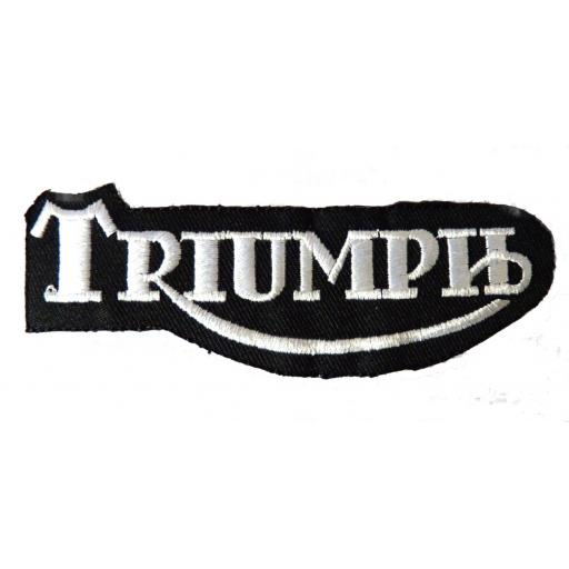 Triumph Patch - White on Black
