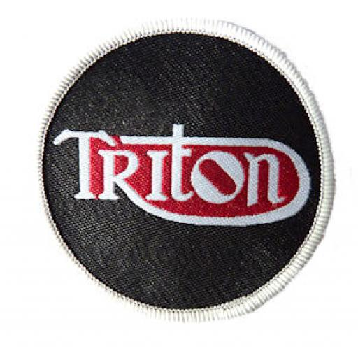 Triton woven patch - Black Background with Triton in Silver Grey on a Red Background