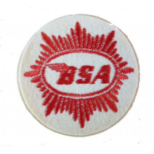 BSA Red Logo on White Patch