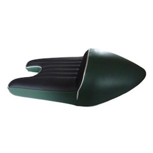 Triton Slim Line Cafe Racer Seat - British Racing Green and Black with Silver Piping