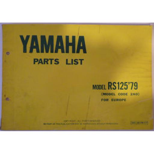 Yamaha spare parts catalogue Yamaha RS125 - 1979 Model Code 2A0