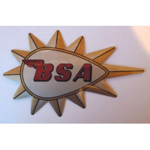BSA Self Adhesive Badge/Decal Silver Background with Gold Starburst