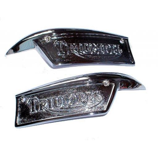 Tank Badges - Triumph T100, T120, TR6 - OE Part Nos: 82-9701/0