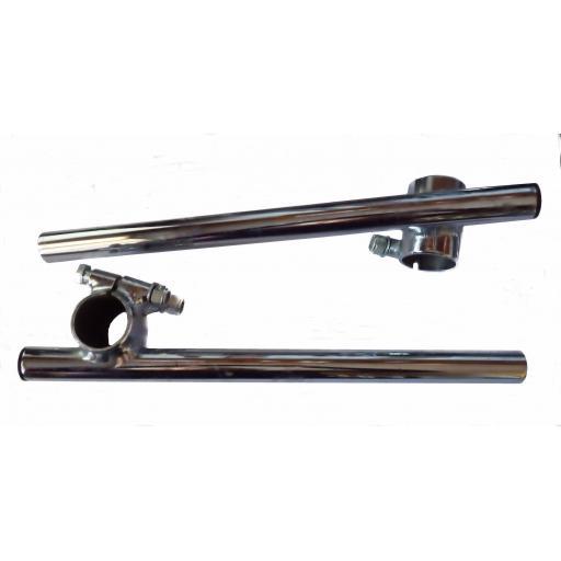 Chromed Cross Over Clip On Handlebars 32mm Diameter Fitting 7/8 inch 22mm Handlebar