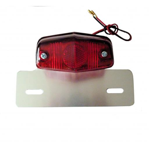 Mini Lucas Style Stop and Tail Light with Alloy Licence Plate Bracket