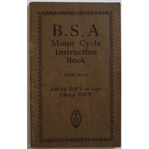 BSA Motor Cycle Instruction Book 2.49 hp OHV de Luxe, 3.48 hp OHV - 1935