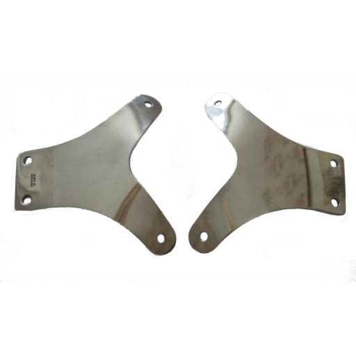 "Pair of Polished Alloy ""Y"" Brackets for Manx Style Alloy Mudguards and Roadholder Fork Legs"