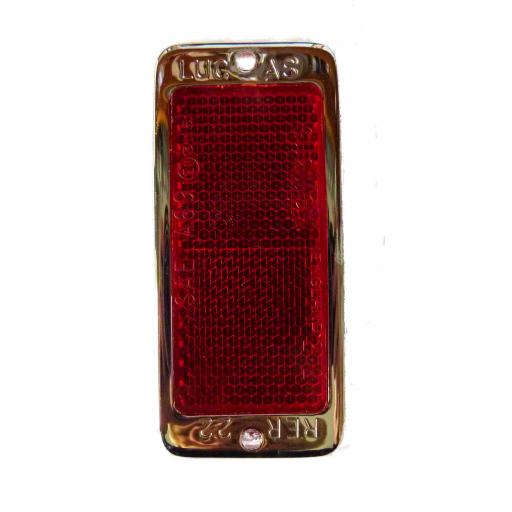 Lucas Red Rectangular Reflector RER22 with chrome surround