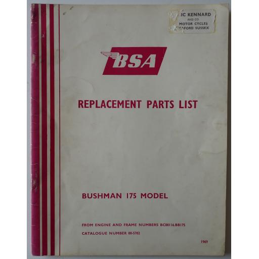 BSA Bushman 175 Bantam Replacement Parts List - 1969