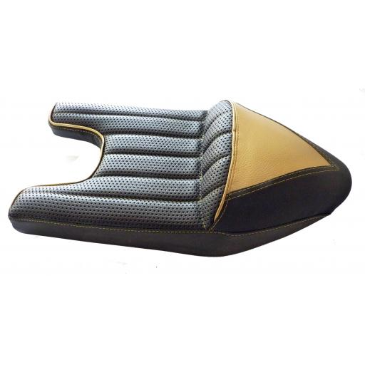 Triton Cafe Racer/Racing Seat in Gold and Black for Norton Wideline Featherbed Frame