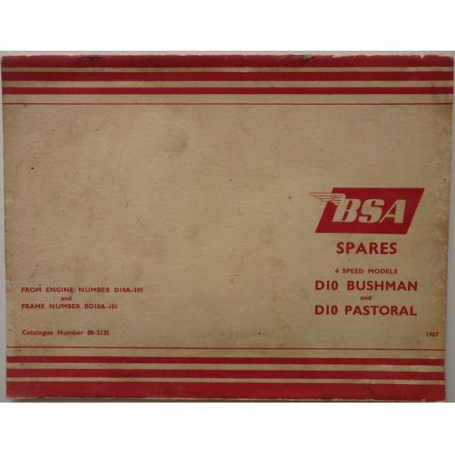 BSA Spare Parts List - BSA D10 Bushman and D10 Pastoral - 1967