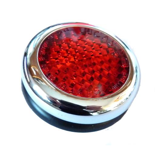 Lucas Red Reflector with Chrome Bezel - RER25