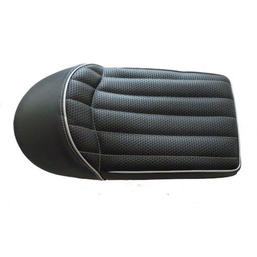 Wideline Cafe Racer Seat without Central Oil Tank Recess - Black with Silver Piping