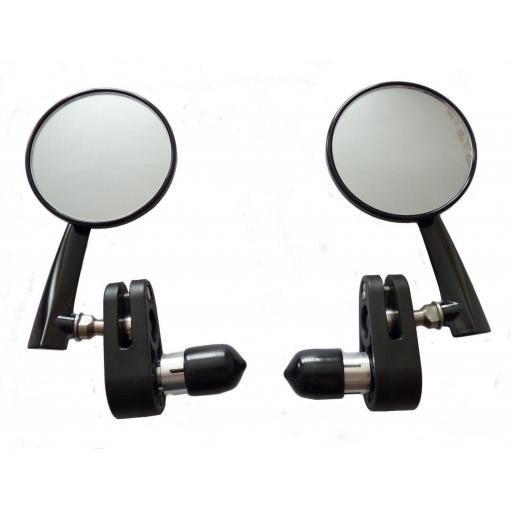 Bar End Mirrors - Billet Alloy - Satin Black Finish with 3 inch convex Mirror - Cafe Racer - Triton