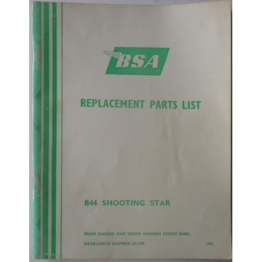 BSA B44 Shooting Star Replacement Parts List - 1969