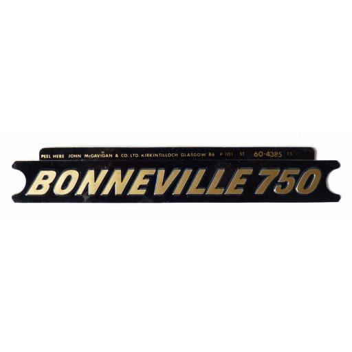 Panel Badge Sticker/Motif - Bonneville 750 - Gold on Black - 60-4148