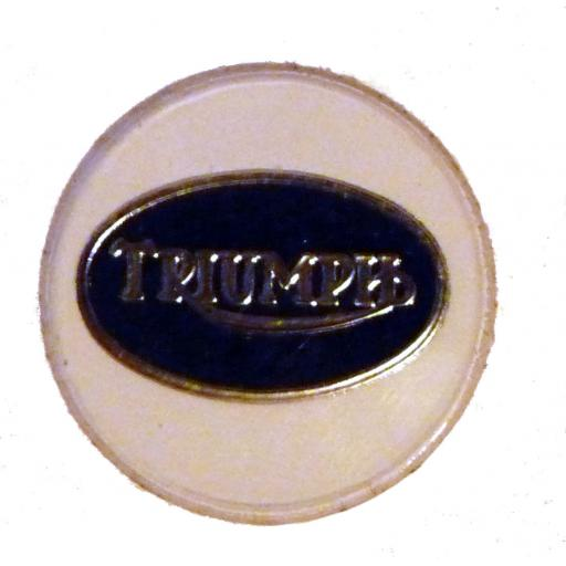 Triumph Small Round Badge - Silver Triumph Logo on Blue Lozenge