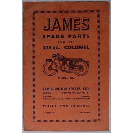 James Spare Parts List/Catalogue/Book for the 225cc Colonel Model K12 - 1954
