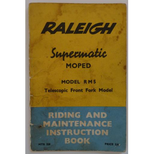 Raleigh Supermatic Moped RM5 Riding and Maintenance Instruction Book