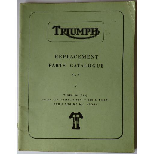 Triumph T90 T100S T100R T100C T100T Replacement Parts Catalogue No 9 - 1967