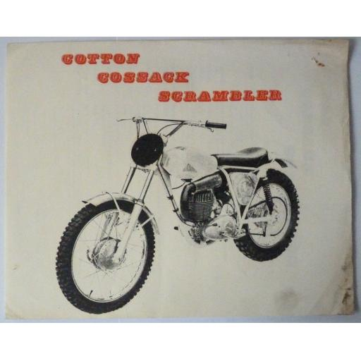 Cotton Cossack Scrambler Sales Brochure/Data Sheets 247cc Villiers Engine