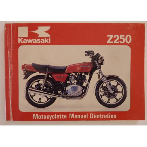 Kawasaki Z250 Motocyclette Manuel D'entretien - Owners Handbook -in French