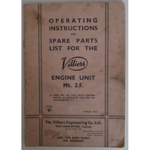 Villiers Mk 2F Engine Unit Operating Instructions and Spare Parts List - 1955