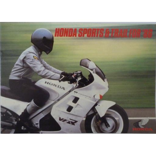 Honda Sales Brochure Sports and Trail for '86 PB86001 A