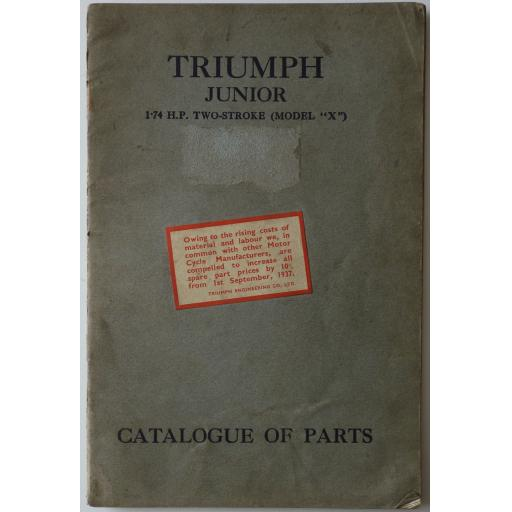 Triumph Junior 1.74 hp Two Stroke Model X Spare Parts Catalogue - circa 1937