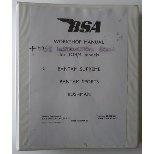 Original BSA Bantam D14/4 Workshop Manual in Ring Binder with Instruction Book