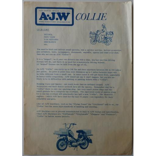 AJW Collie Moped Sales Brochure - Vintage Motorcycle Literature/Brochure