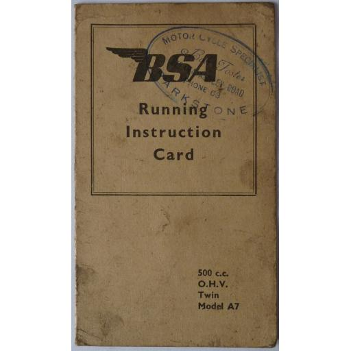 BSA A7 Running Instruction Card