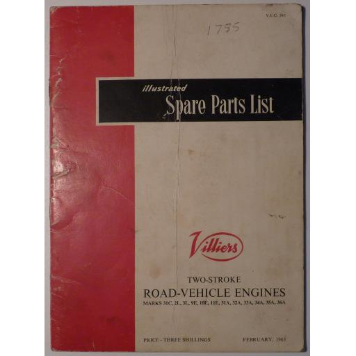 Villiers Illustrated Spare Parts List 2-stroke Road Vehicle Engines Marks 31C, 2