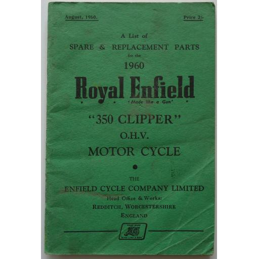 Royal Enfield 350 Clipper OHV Spare Parts List - 1960