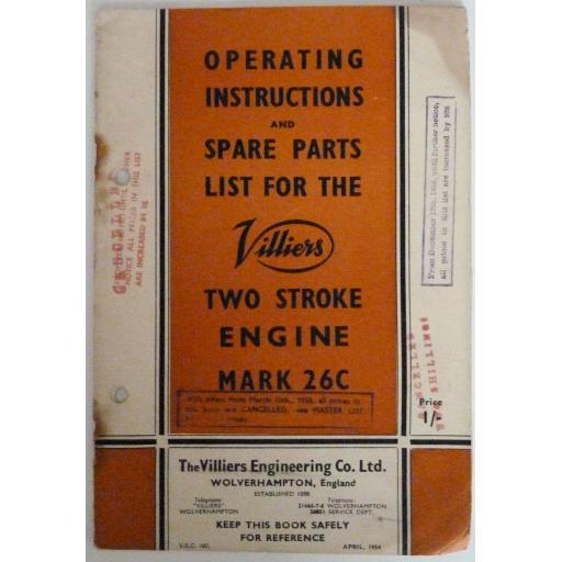 Villiers Operating Instruction Book for the Mk 26C 147cc 2-stroke Engine