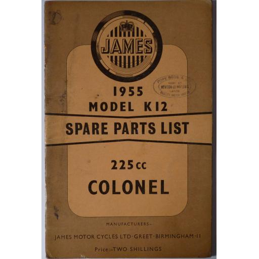 James Colonel 225cc Model K12 Spare Parts List - 1955 catalogue
