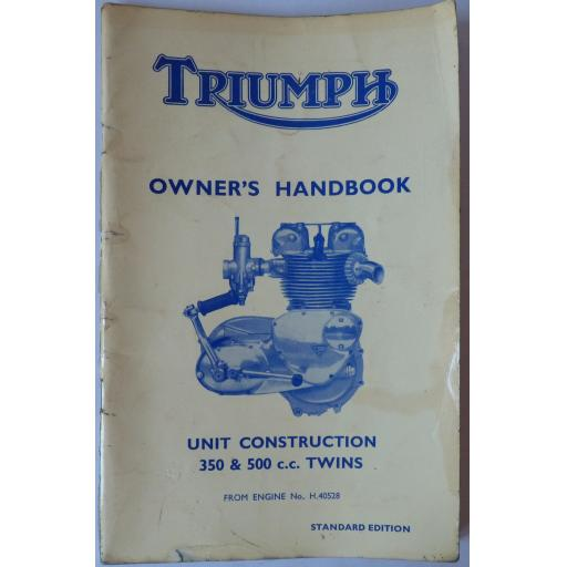 Triumph 350cc and 500c Unit Twins Owners Handbook - 1965