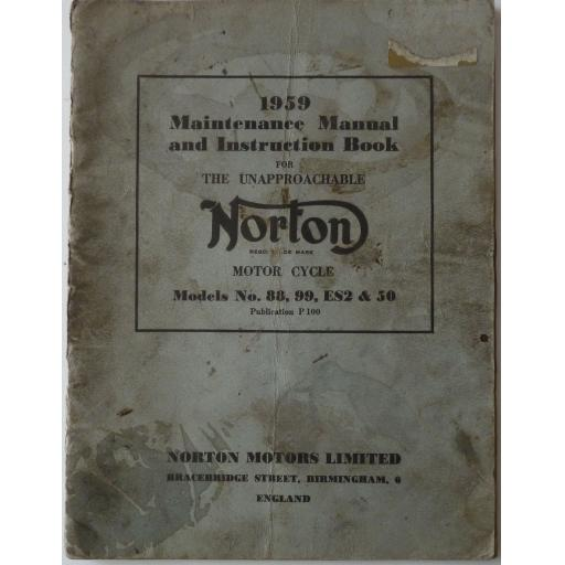 Norton 88, 99, ES2 and Model 50 Maintenance Manual & Instruction Book - 1959