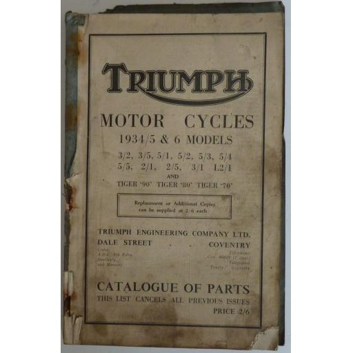 Triumph Motor Cycles 1934, 1935 and 1936 Models Spare Parts List