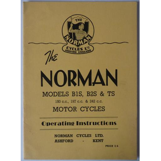 The Norman Models B1S, B2S, TS Motorcycle Instruction Book