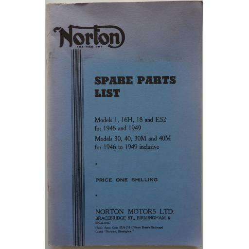 Norton Spare Parts List - 1946-49