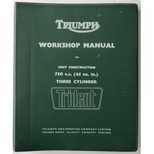 Original Triumph T150 Trident 750cc 3 Cylinder Workshop Manual Ref: 99-0887