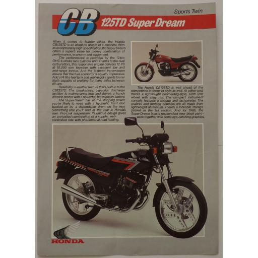 Honda CB125TD Super Dream Sales Brochure - 1986